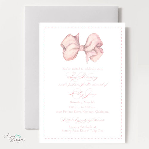 Sugar b designs anne ryan bow baby shower invitation by sugar b designsg filmwisefo