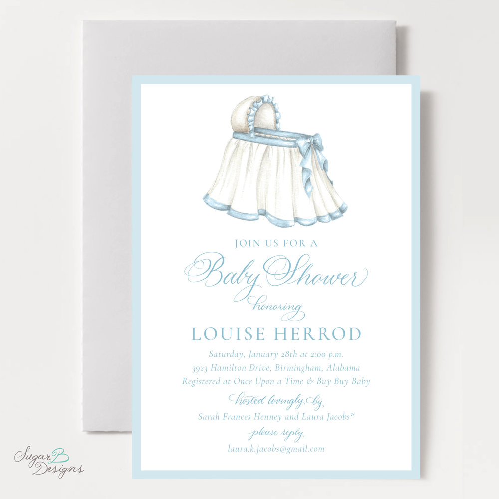 The Bombay Bassinet In Blue Baby Shower Invitation