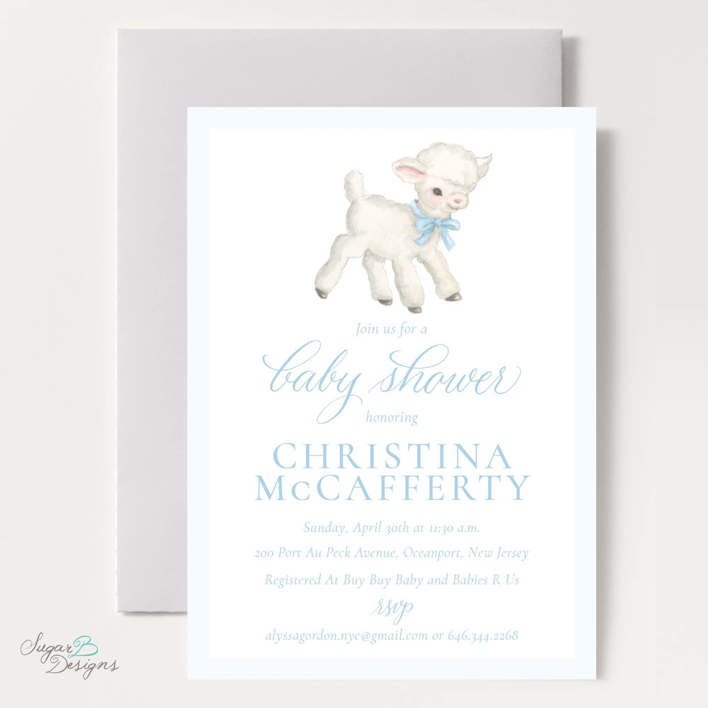 Vintage Lamb In Blue Baby Shower Invitation By Sugar B Designs