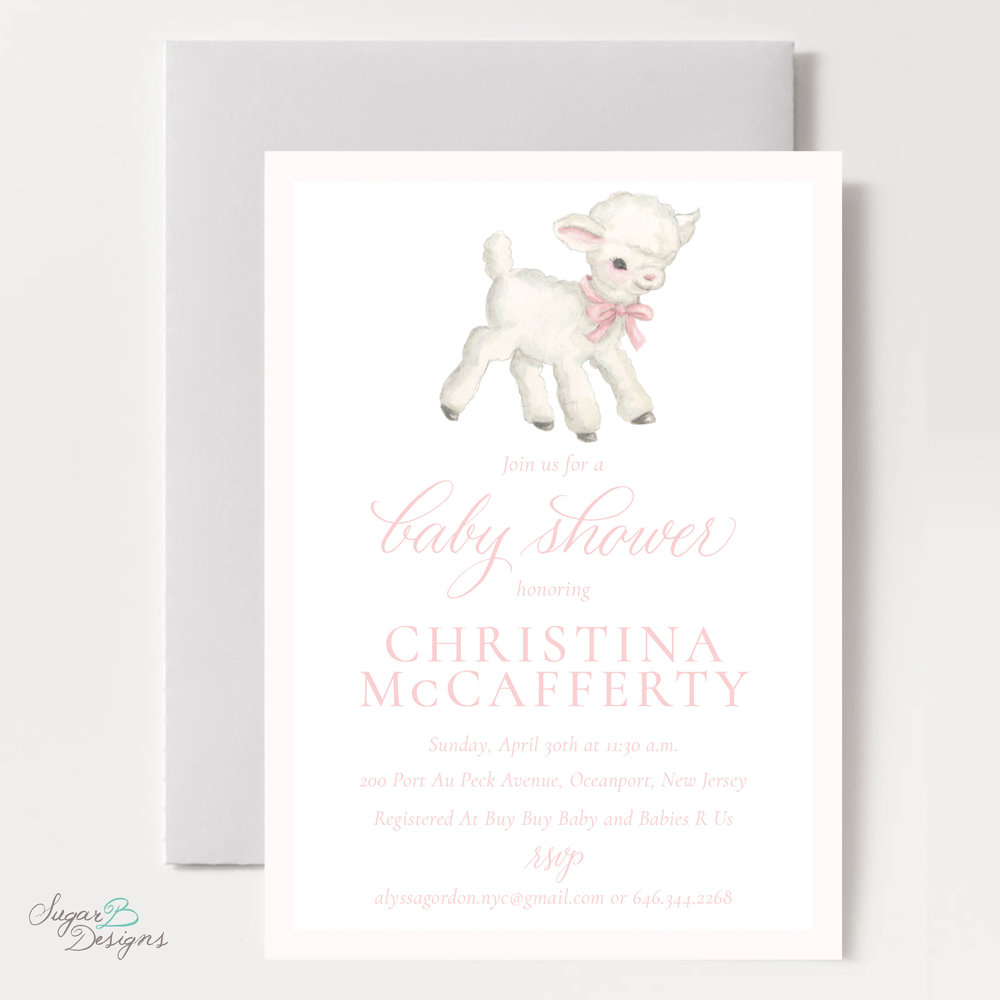 Vintage Lamb In Pink Baby Shower Invitation By Sugar B Designs