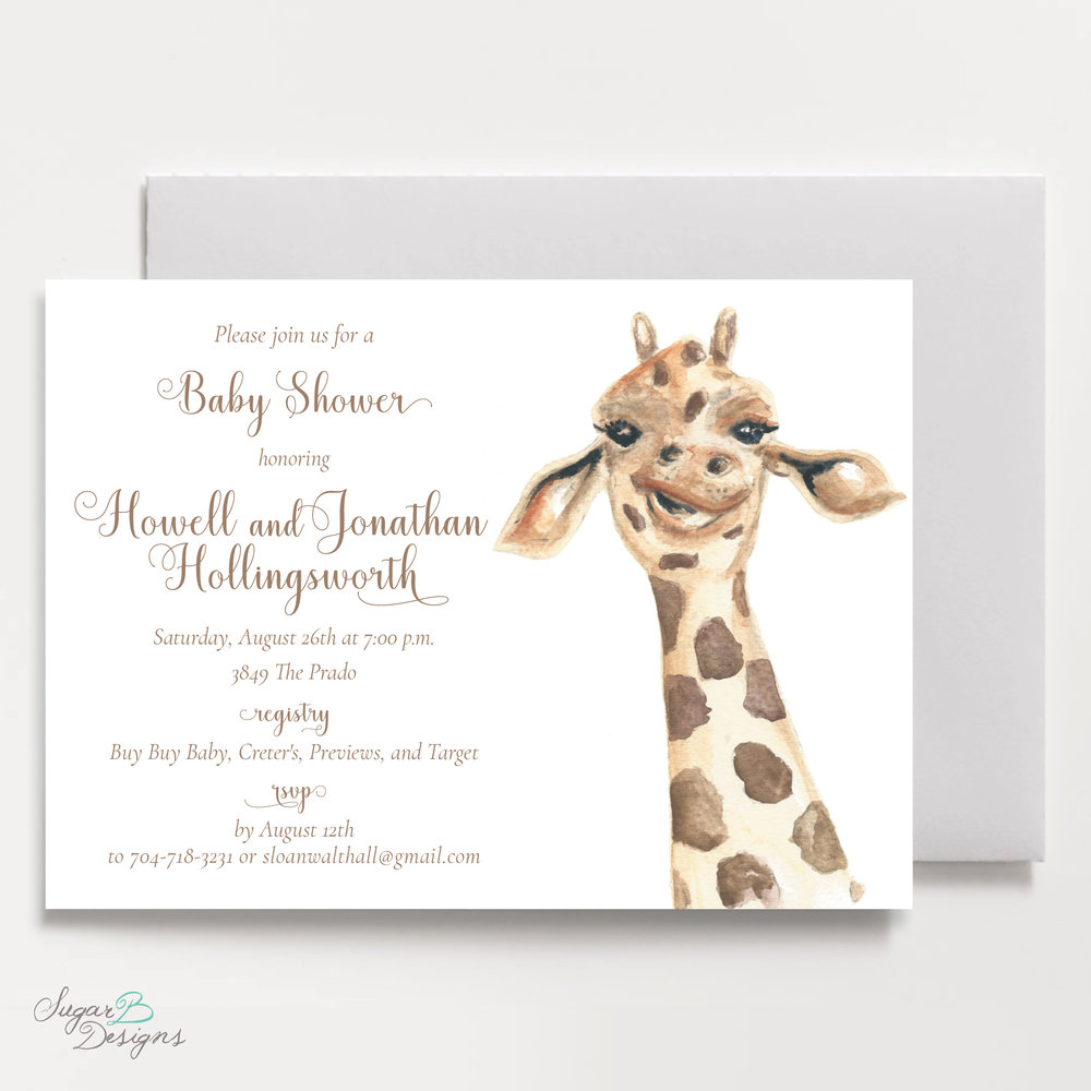 George The Giraffe Baby Shower Invitation