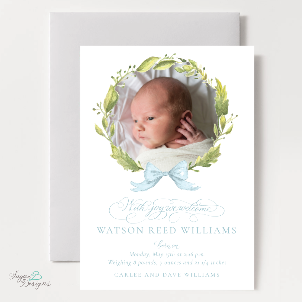 Petite Wreath in Blue Baby Announcement by Sugar B Designs