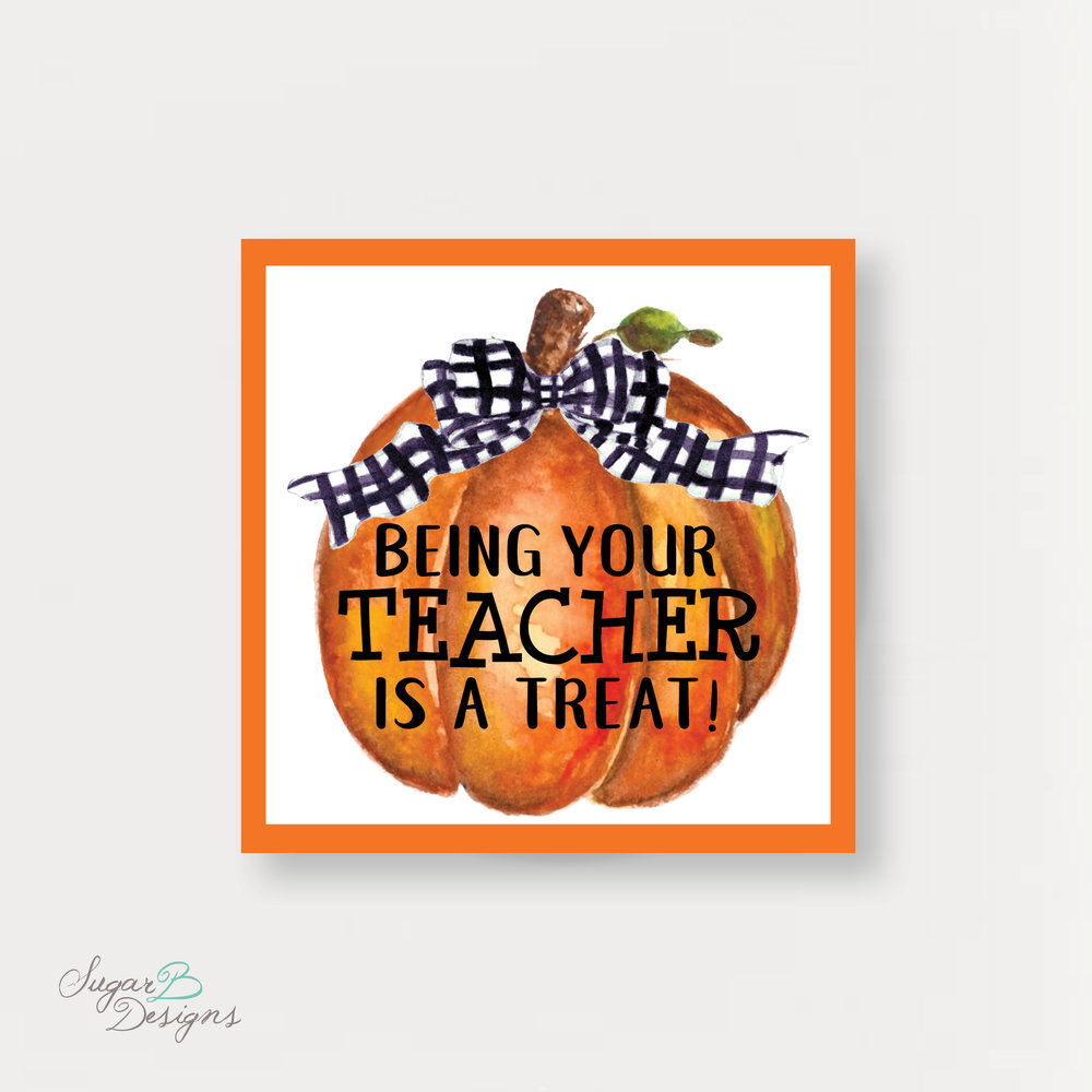 Cute Pumpkin Teacher Tag
