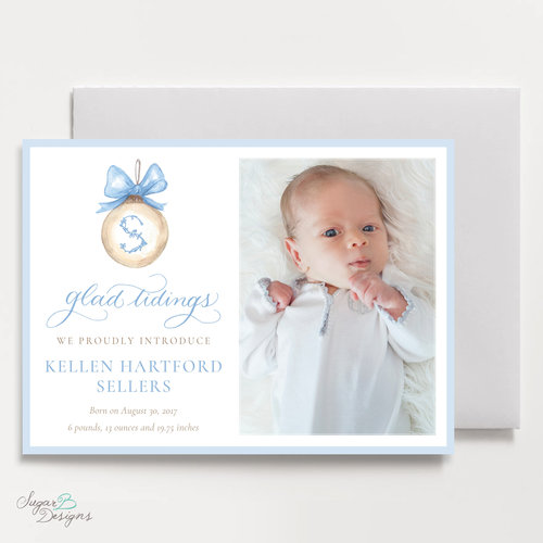 not so blue landscape 5 x 7 flat birth announcement christmas card