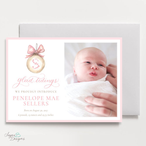 pinking of you 5 x 7 flat landscape christmas card birth announcement