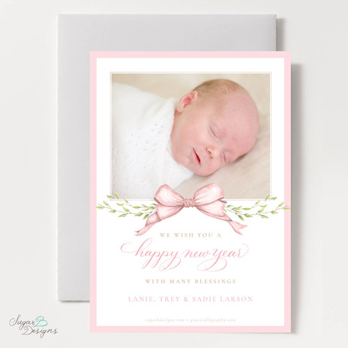 victoria in pink 5 x 7 flat baby announcement new years card