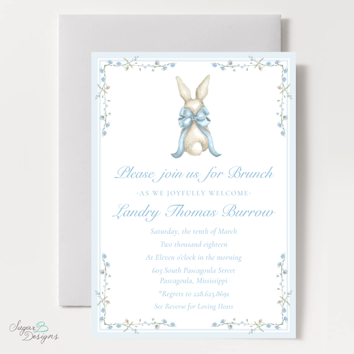 Sugar b designs bunny and blue bow baby shower invitation filmwisefo