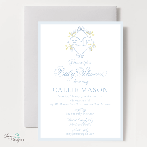 Sugar b designs lovely lily james blue baby shower invitation filmwisefo