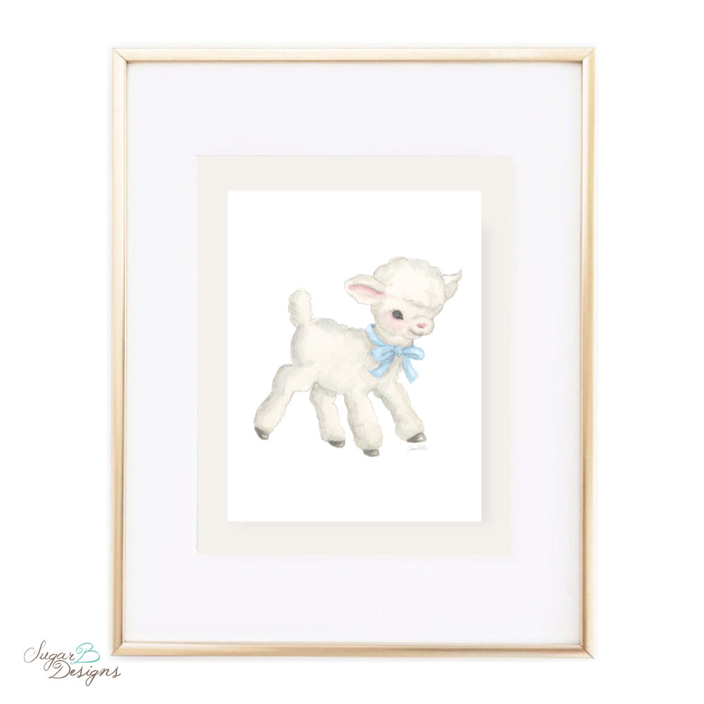 Vintage Lamb with Blue Bow Watercolor Print by Sugar B Designs