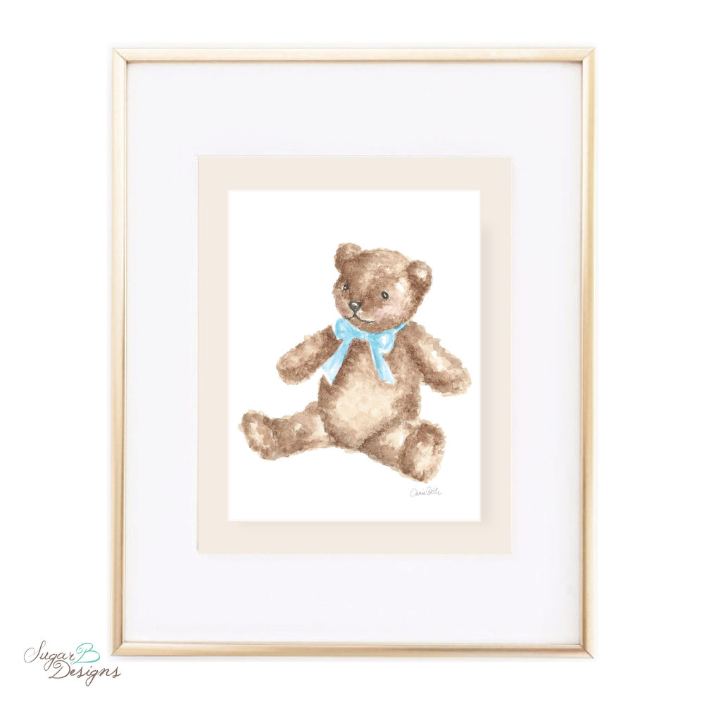 Teddy and Blue Sash Watercolor Art Print by Sugar B Designs