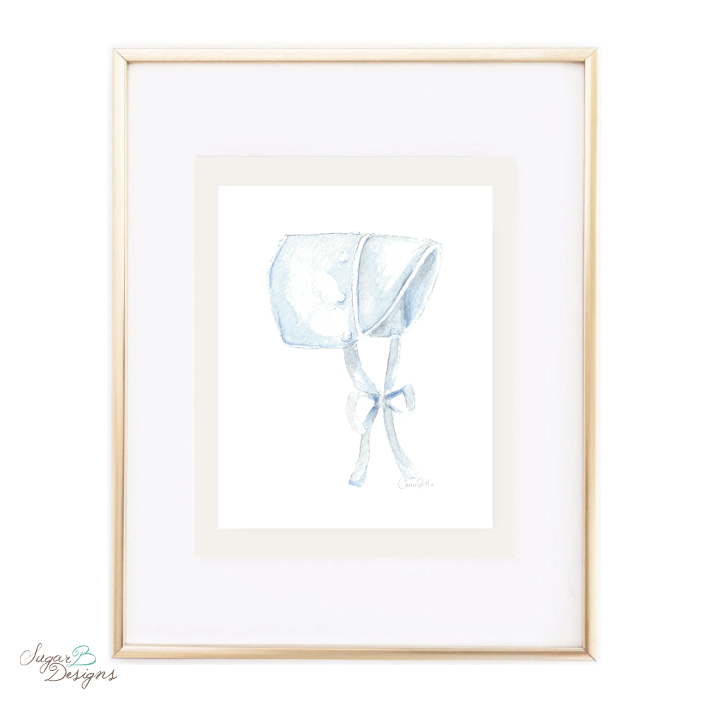 Blue Bucket Watercolor Print by Sugar B Designs