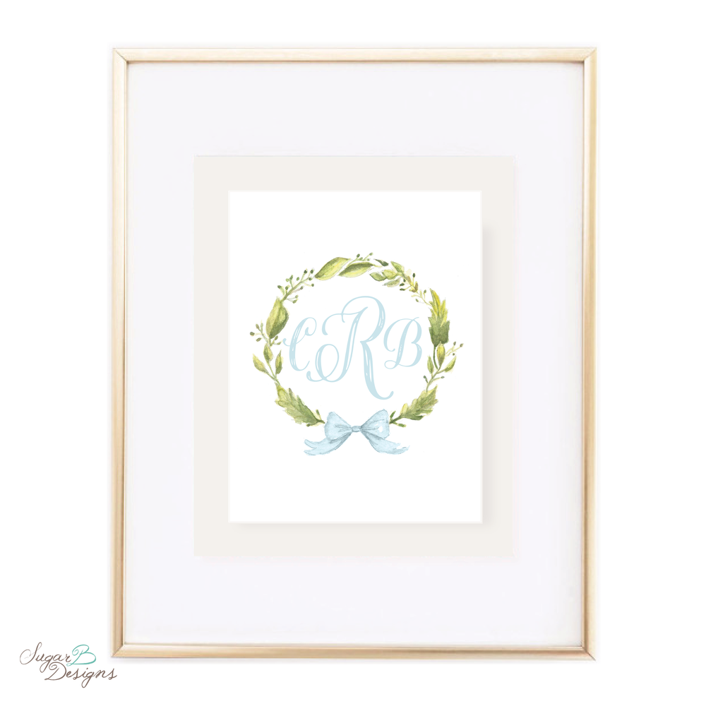 Petite Wreath with Blue Bow Watercolor Print by Sugar B Designs