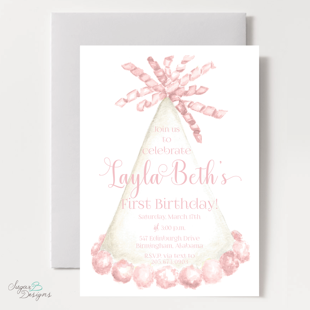 Party Hat Light Pink Birthday Invitation by Sugar B Designs