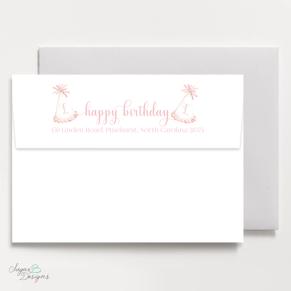 Party Hat Light Pink Return Address Print by Sugar B Designs