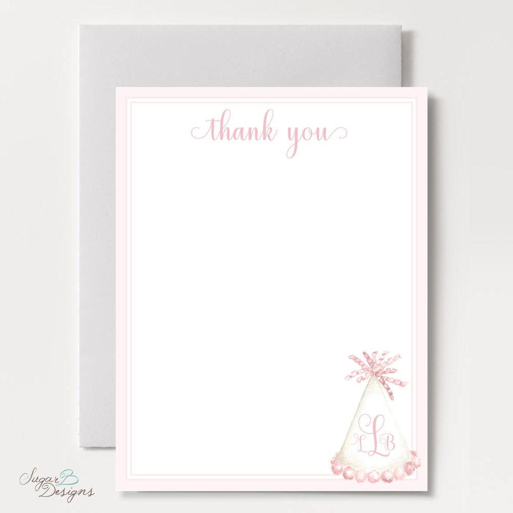 Party Hat Light Pink Flat Stationery by Sugar B Designs