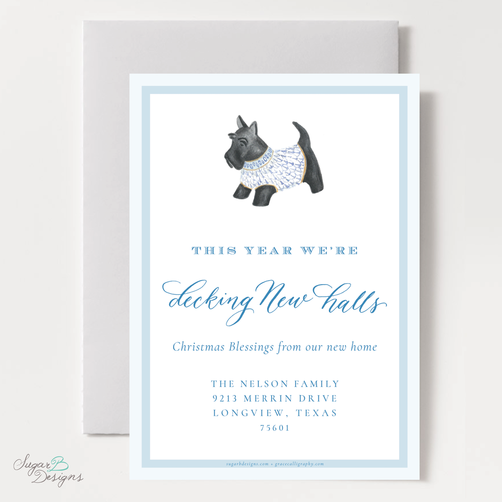 Herend Inspired Scottie Dog Moving Christmas Card back by Sugar B Designs.png