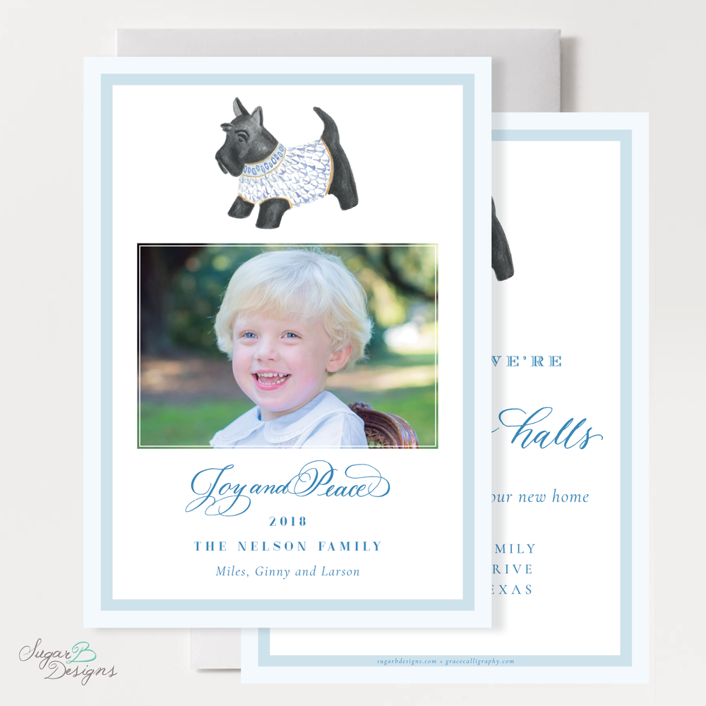 Herend Inspired Scottie Dog Moving Christmas Card front + back by Sugar B Designs.png