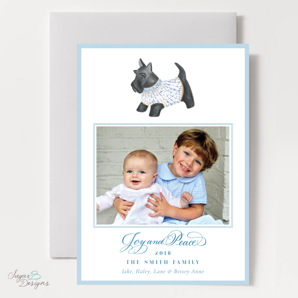 Herend Inspired Scottie Dog Vertical Christmas Card by Sugar B Designs.png