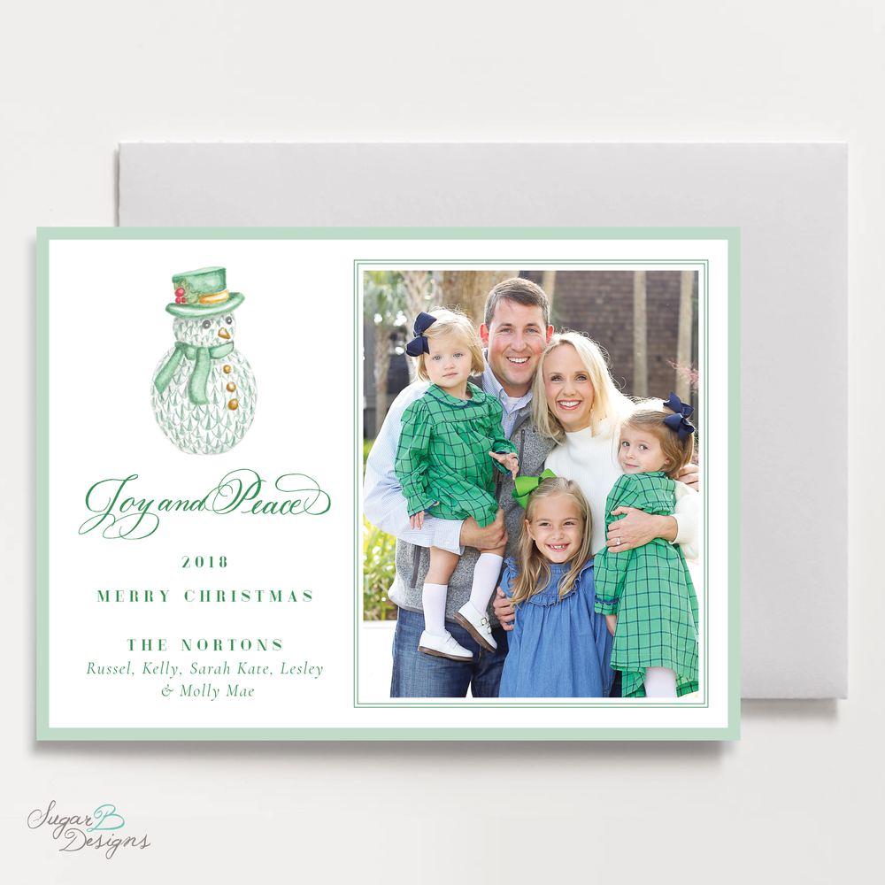 Herend Inspired Green Snowman Landscape Christmas Card by Sugar B Designs.png