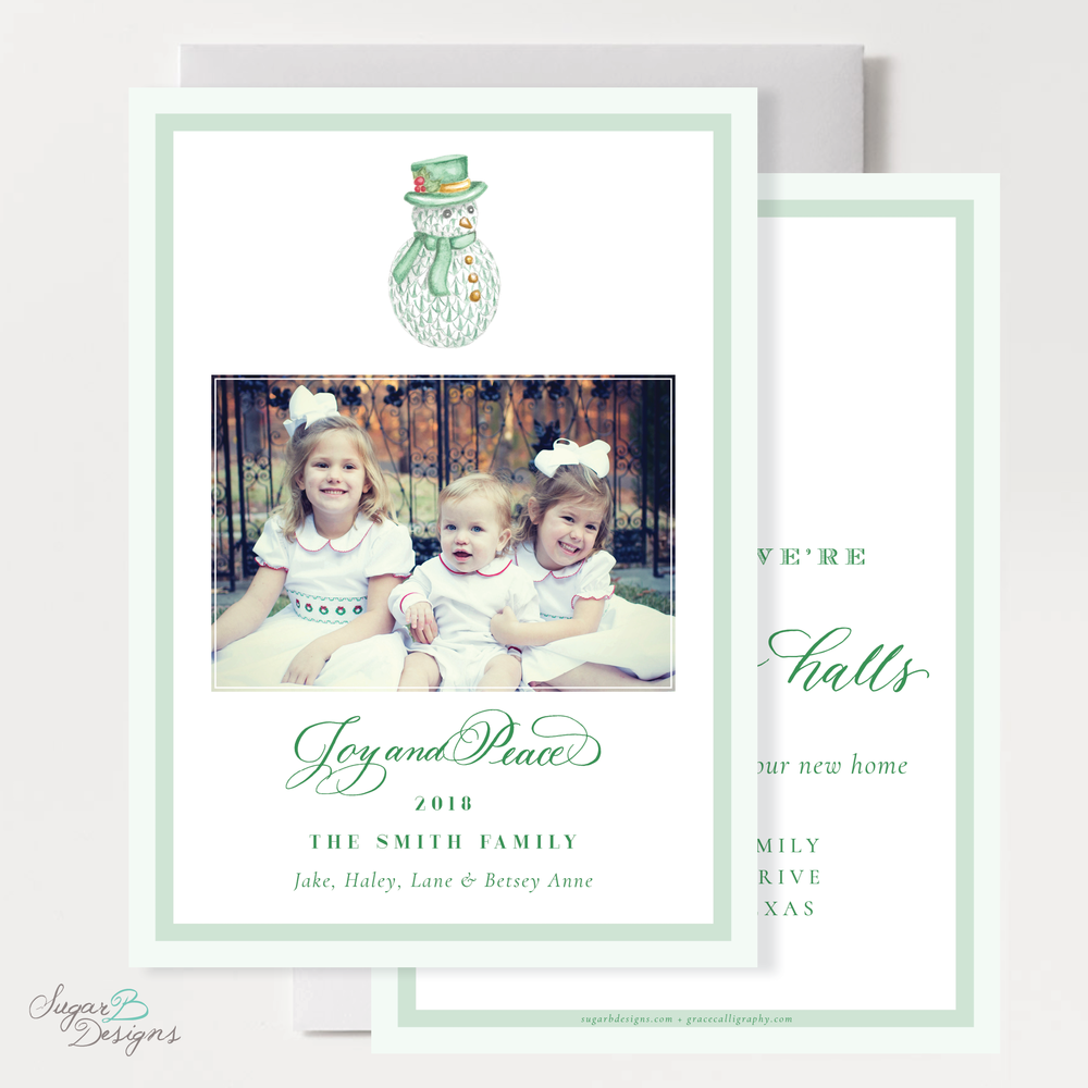 Herend Inspired Snowman Christmas Moving Announcement front and back by Sugar B Designs.png
