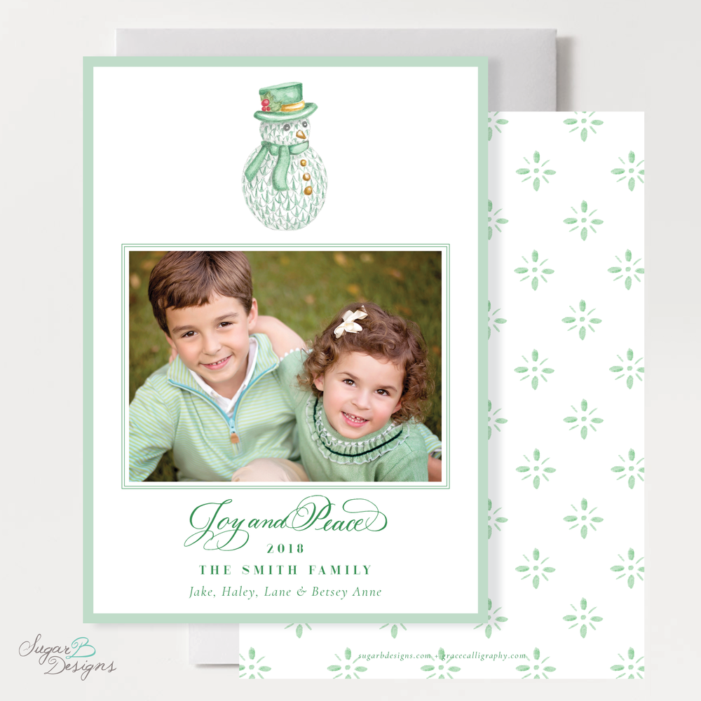 Herend Inspired Snowman Christmas Card front and back by Sugar B Designs.png