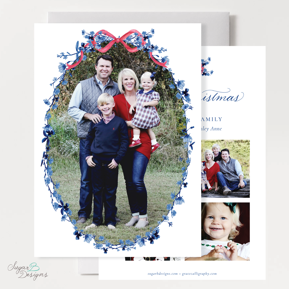Hopkins Wreath Christmas Card front and back by Sugar B Designs.png