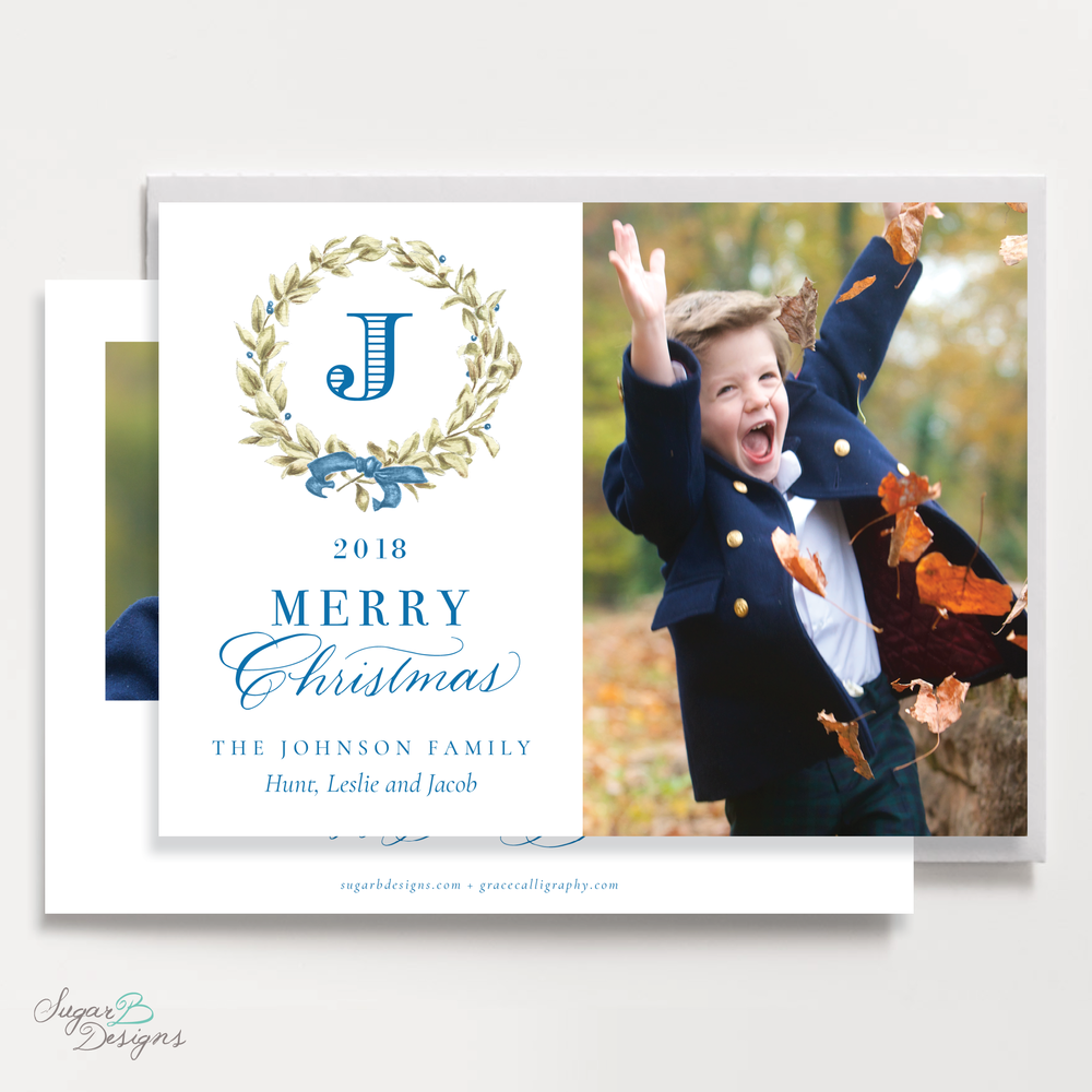 Meryl Wreath Blue Landscape front + back Christmas Card by Sugar B Designs.png