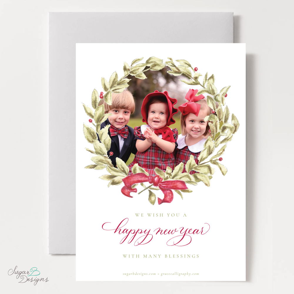 Meryl Wreath Red Christmas Card back by Sugar B Designs.png