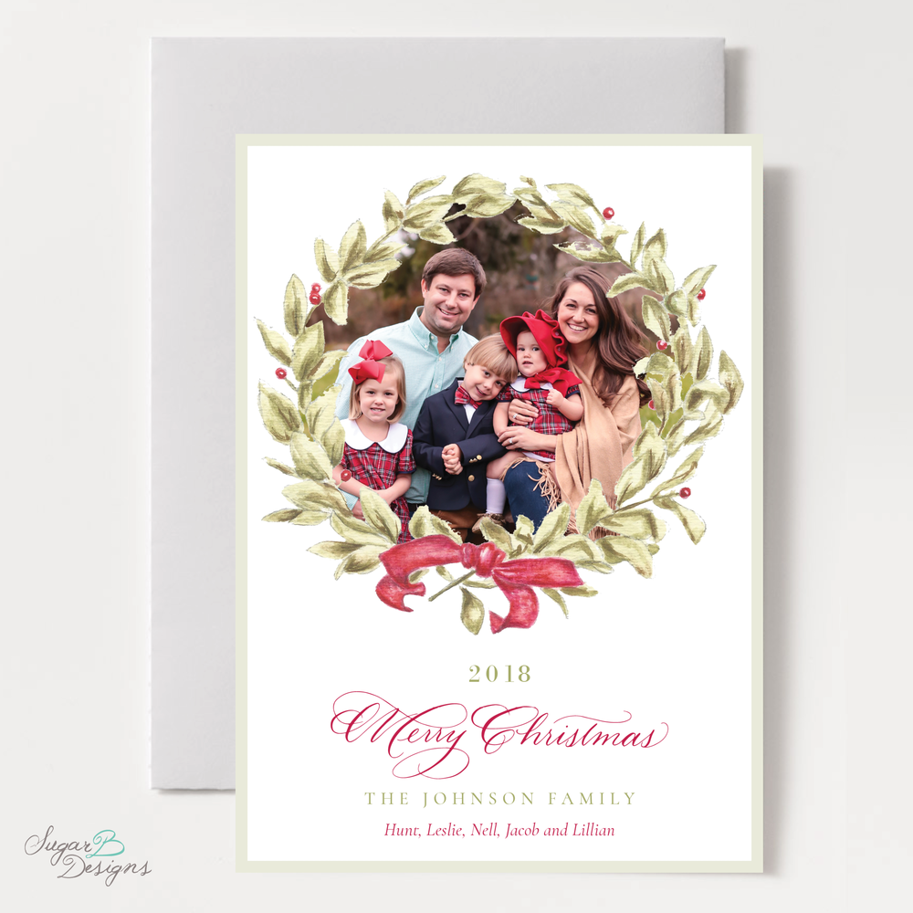 Meryl Wreath Red Christmas Card front by Sugar B Designs.png