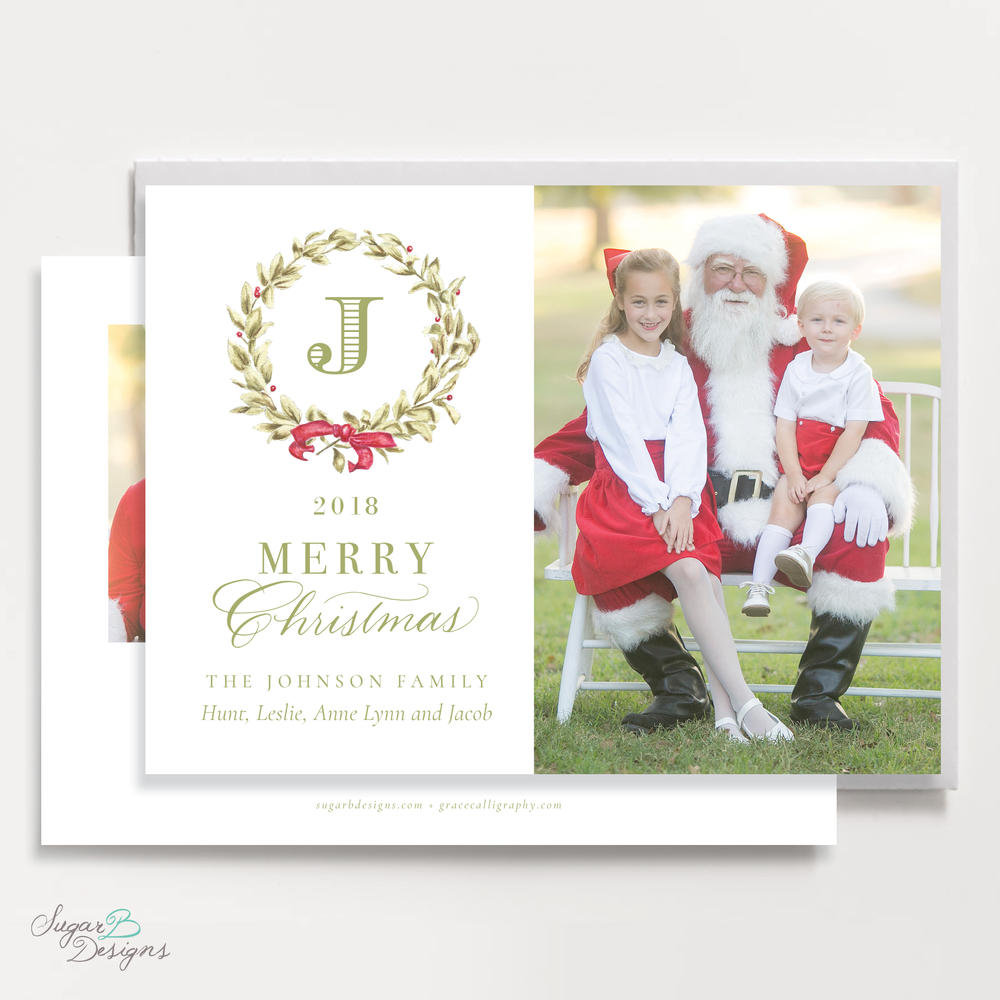 Meryl Wreath Red Christmas Card LANDSCAPE front + back by Sugar B Designs.png