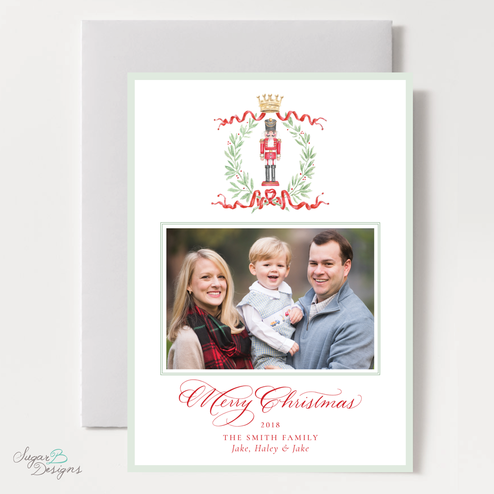 Nutcracker Royal Wreath Change of Address Christmas Card front by Sugar B Designs.png