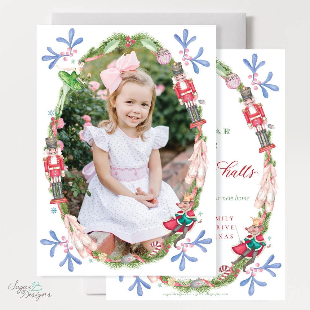 Nutcracker Suite Change of Address front + back Christmas Card by Sugar B Designs.png
