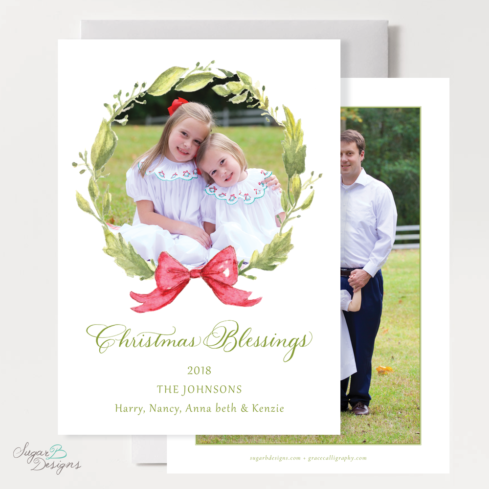 Petite Wreath Red Family Christmas Card front and back by Sugar B Designs.png