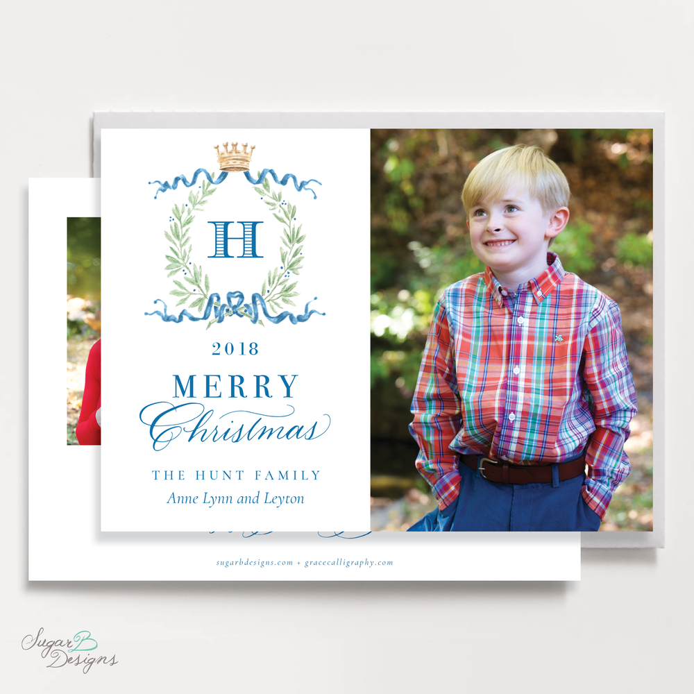 Royal Wreath Blue Landscape front + back Christmas Card by Sugar B Designs.png