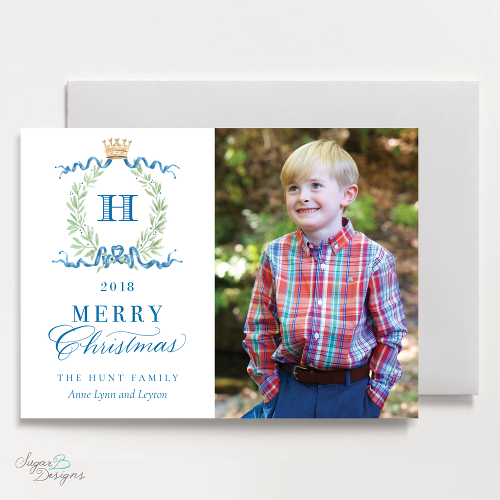 Royal Wreath Blue Landscape front Christmas Card by Sugar B Designs.png