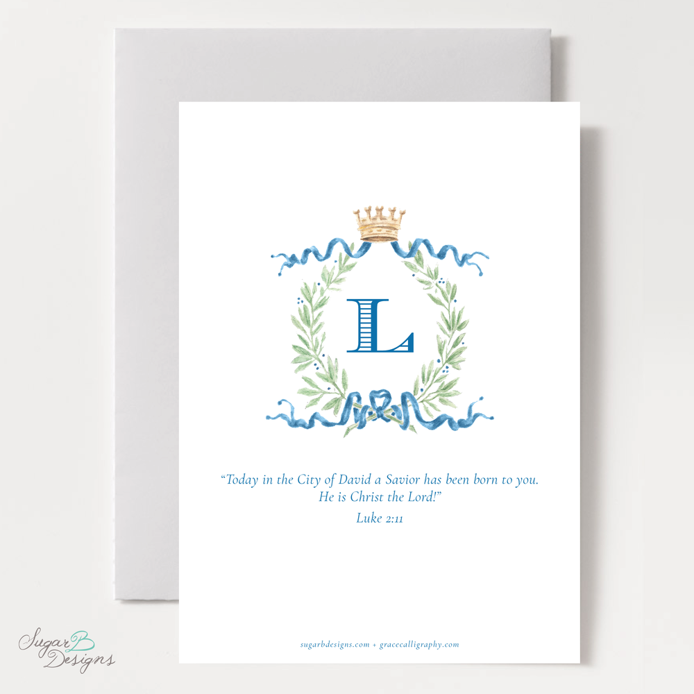 Royal Wreath Blue Vertical Christmas Card back by Sugar B Designs.png