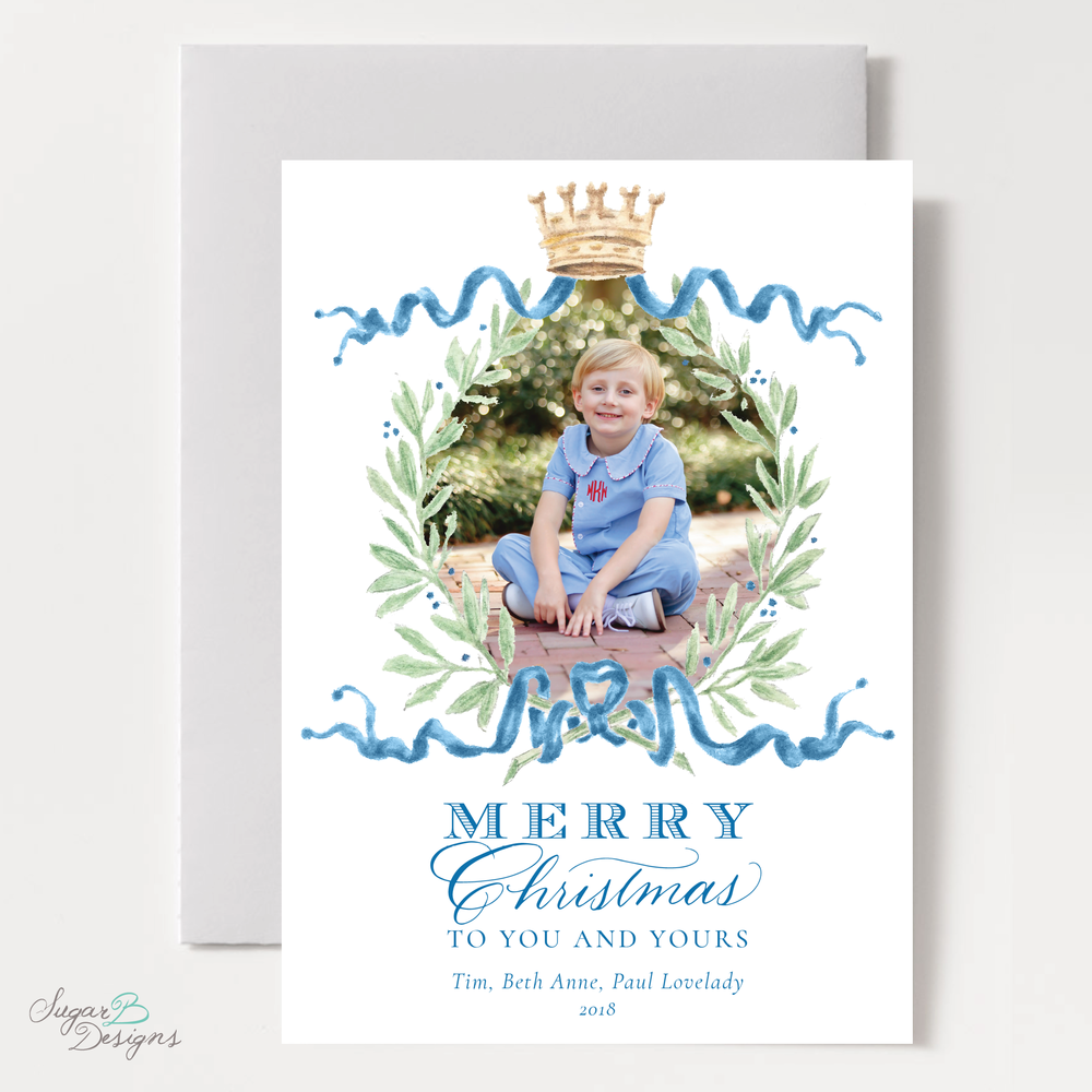 Royal Wreath Blue Vertical Christmas Card front by Sugar B Designs.png