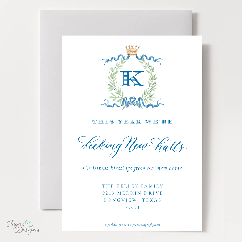 Royal Wreath Blue Change of Address Christmas Card back by Sugar B Designs.png