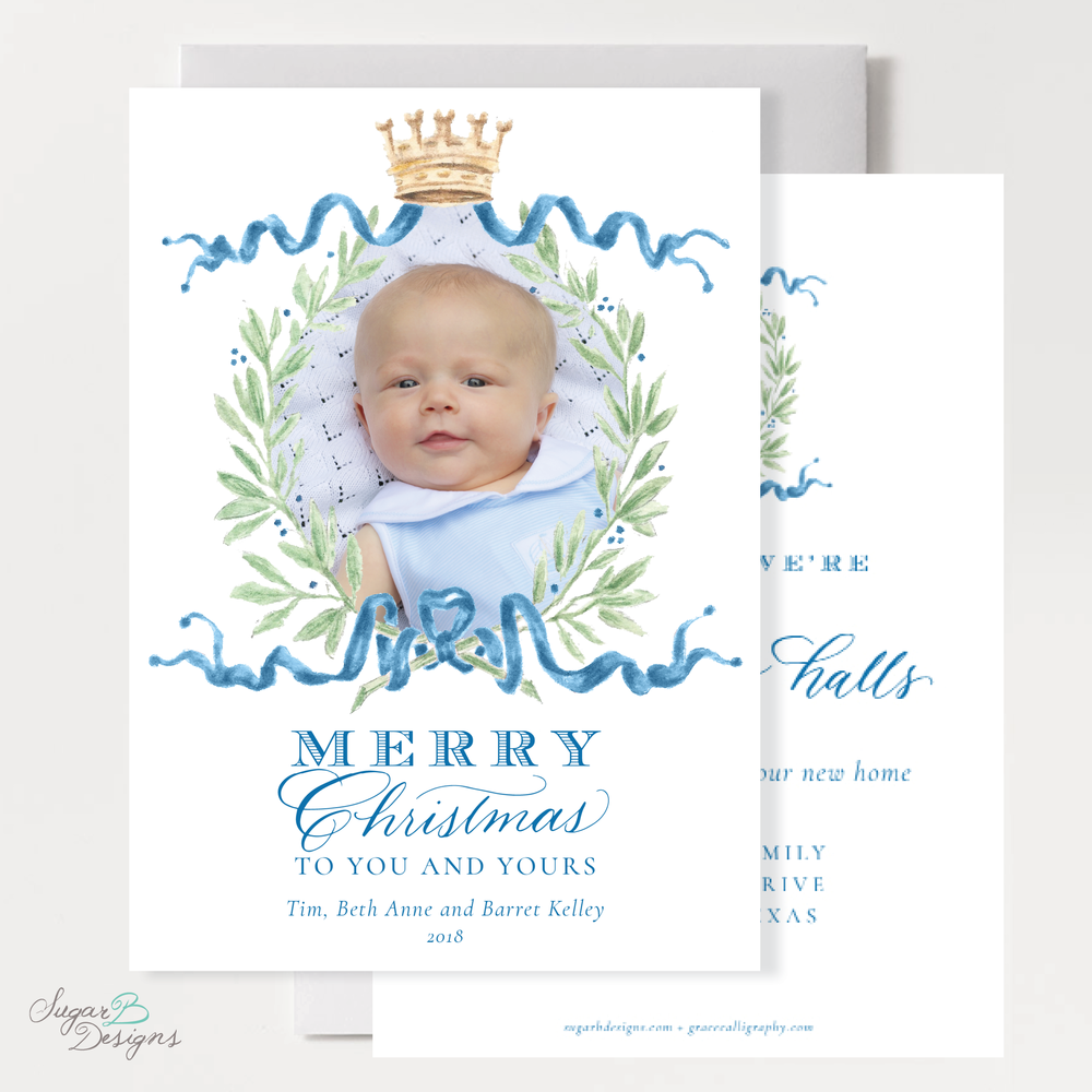 Royal Wreath Blue Change of Address Christmas Card front + back by Sugar B Designs.png