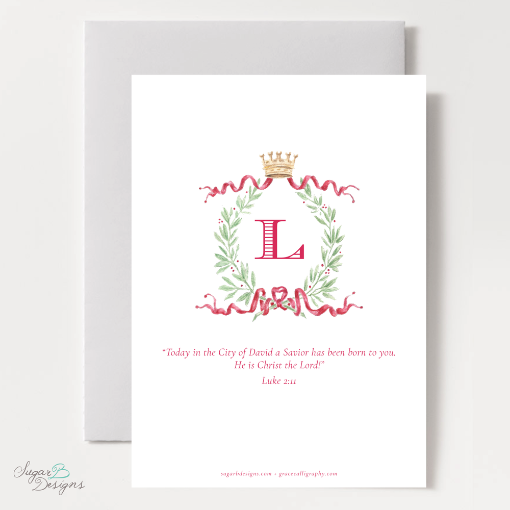 Royal Wreath Red Vertical Christmas Card backer by Sugar B Designs.png