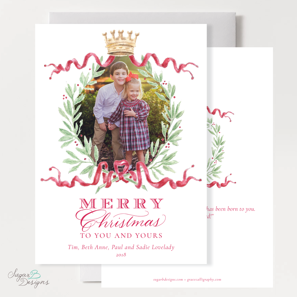 Royal Wreath Red Vertical Christmas Card front + back by Sugar B Designs.png