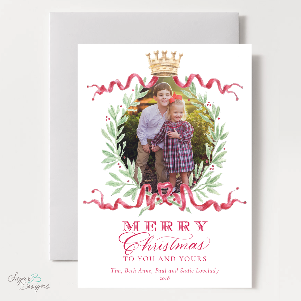 Royal Wreath Red Vertical Christmas Card front by Sugar B Designs.png
