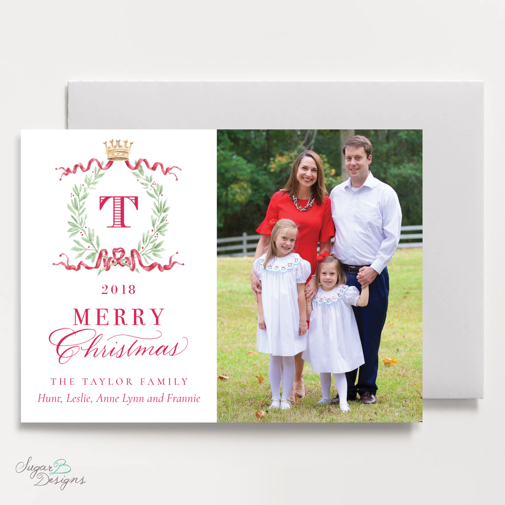 Royal Wreath Red Landscape front Christmas Card by Sugar B Designs.png