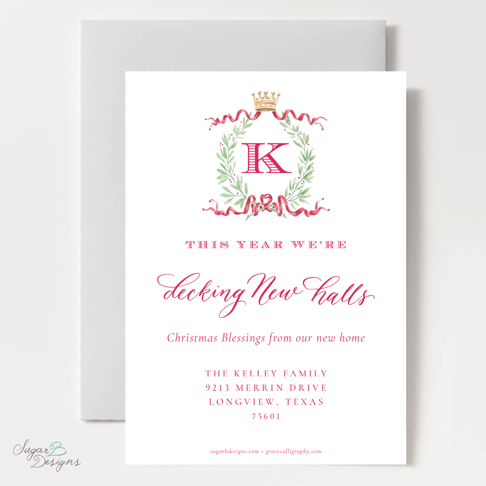 Royal Wreath Red Change of Address Christmas Card back by Sugar B Designs.png