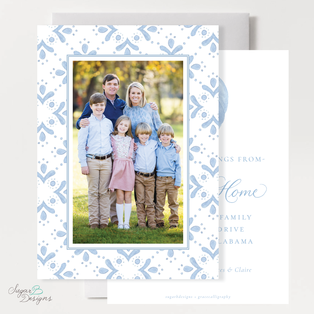 The Newborn King Change of Address Christmas Card front + back by Sugar B Designs.png