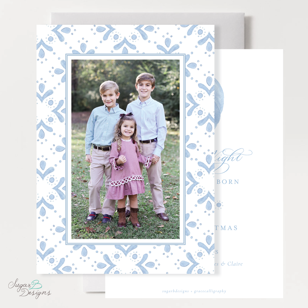 The Newborn King Vertical Christmas Card front + back by Sugar B Designs.png