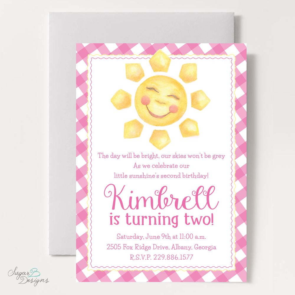 Sunshine Hot Pink Invitation by Sugar B Designs.png