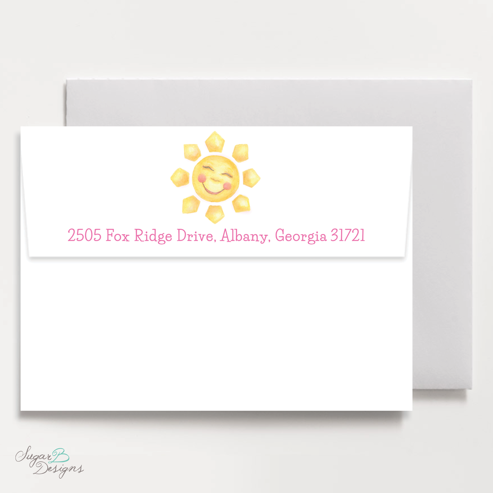 Sunshine Hot Pink Return Address Print By Sugar B Designs.png