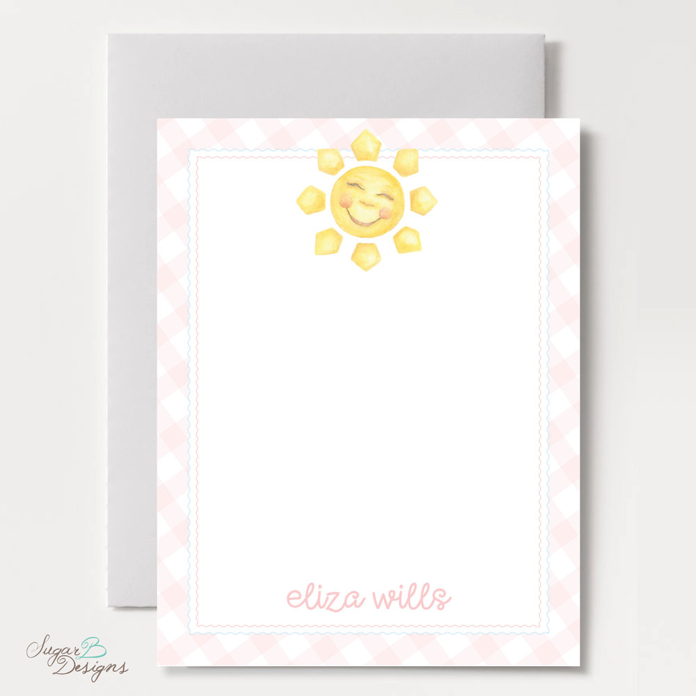 Happy Sunshine in Pink Flat Stationery by Sugar B Designs.jpg