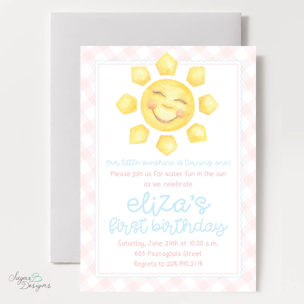 Happy Sunshine Invitation in Pink by Sugar B Designs.jpg
